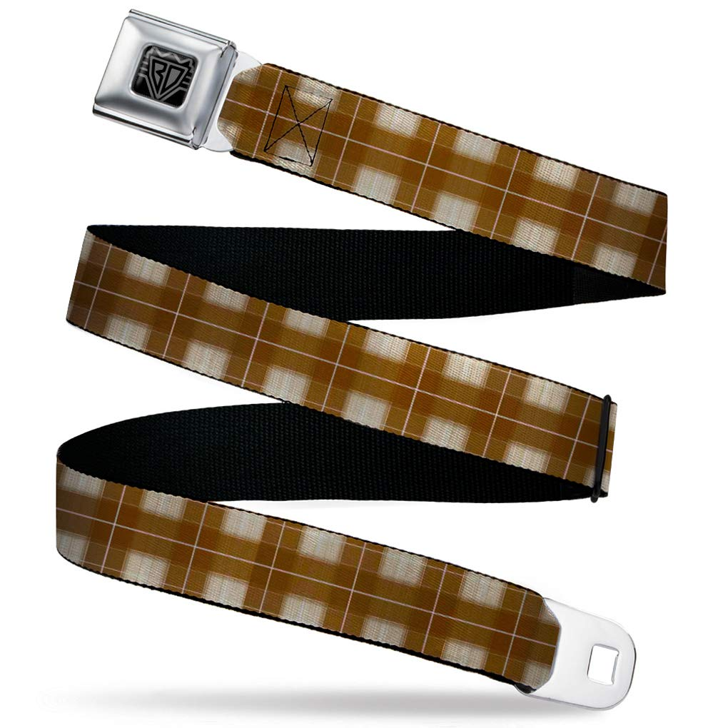 Buckle-Down Mens Seatbelt Belt Plaid Kids 1.0 Wide-20-36 Inches Tans//Brown//White