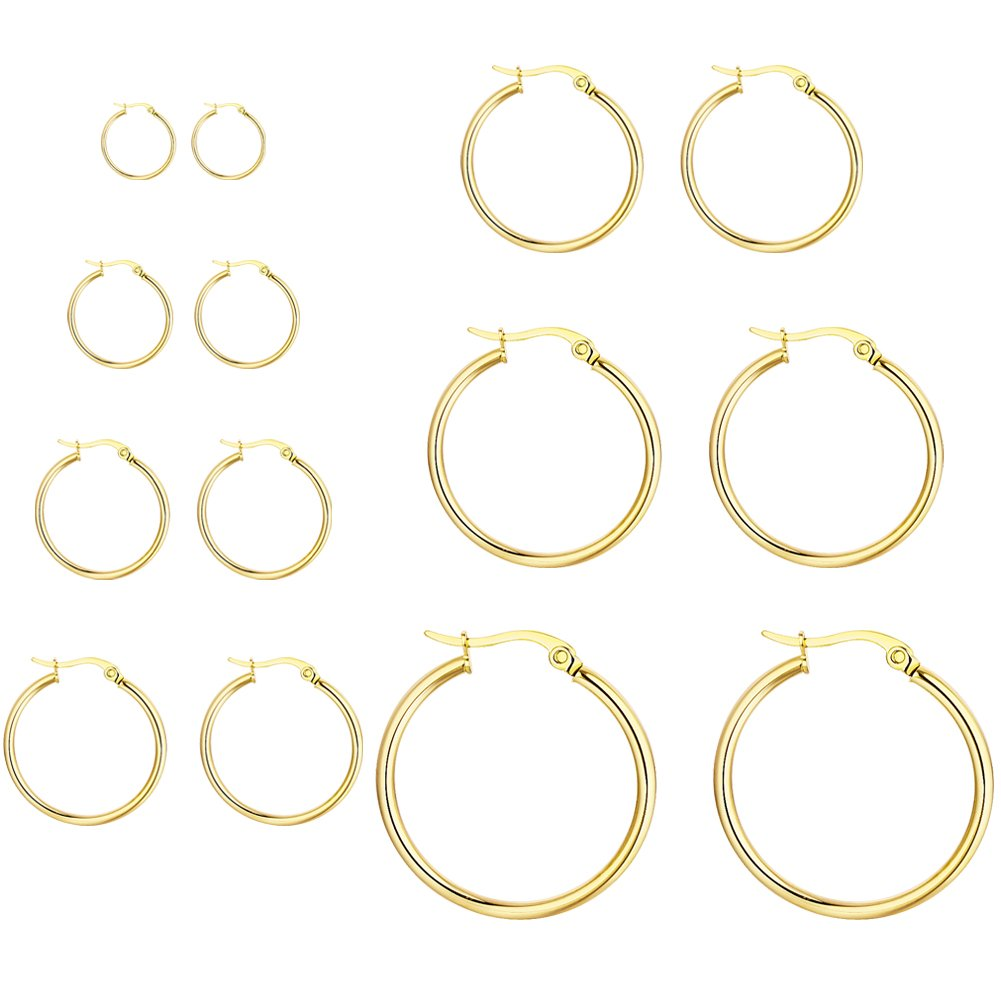 Stainless Steel Round Small Hoop Earrings Jewelry Set for Women Girls, 7-10 Pairs & 12MM-30MM 7-10 Pairs & 12MM-50MM AnotherKiss AK18-SS05E-HE2C