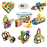 Magnetic Blocks 66 Piece Set of Magnetic Tiles – Fun Creative Magnetic Building Blocks Set for Kids Aged 3 and Older – Great Educational 3d Building Blocks for Learning While Playing