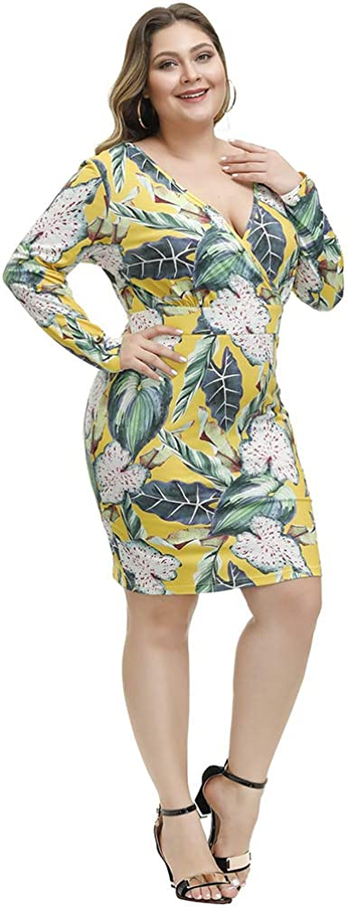 Love is Lovely Womens V-Neck Long Sleeves Plus Size Bodycon Midi Dress