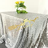 ShiDianYi Sequin Tablecloth, Wedding Table Cloth, Sparkle Sequin Linens, Glitz, Sequin Cake Tablecloth, Sequin Tablecloth, Wedding, Bling, Event, Decor, Sparkle, Party~m1020 (60102, Silver)