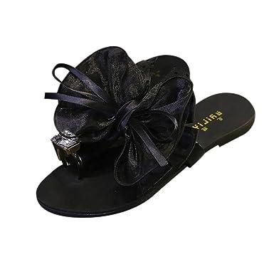 BaZhaHei Sandalias de Mujer Mujeres Flor Arco Talón Plano Sandalias del Dedo del pie Zapatillas de