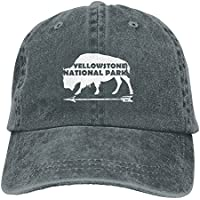 df5c5cde43a Yellowstone National Park Old Faithful Buffalo Washed Retro Adjustable  Jeans Cap Trucker Hats For Women And