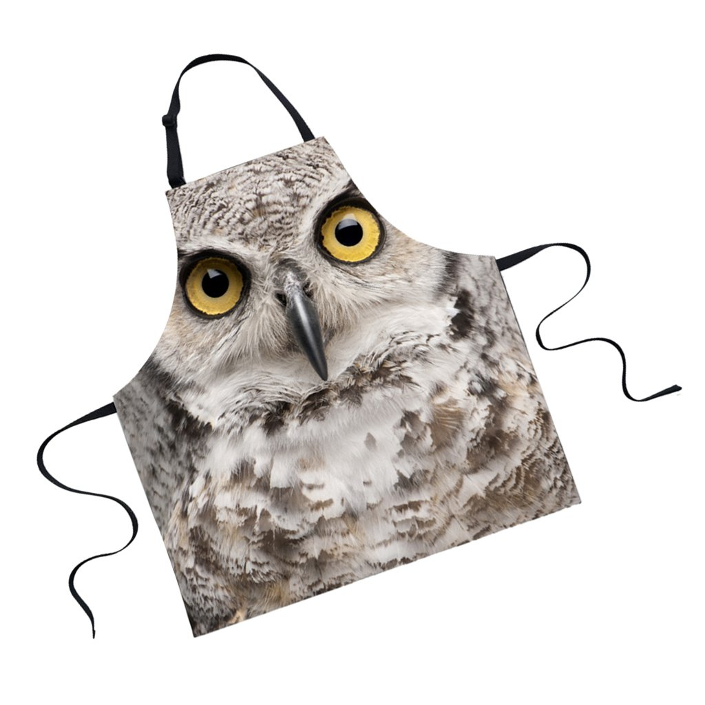 Jili Online Funny Animal Printed Aprons for Men Party Animal Baking Kitchen Chefs Gift - Owl