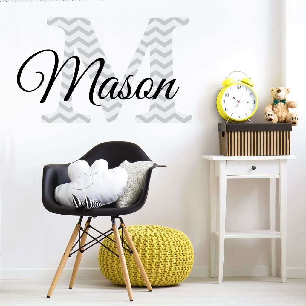 """Nursery Grey Chevron Custom Name Wall Decal Sticker, 20"""" W by 12"""" H, Boys Name, Wall Decor, Personalized, Boy Name Decor, Boys Nursery, Boys Bedroom, Plus Free White Hello Door Decal"""