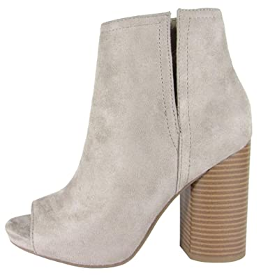 Delicious Women's Peep Toe Side V Cut Out Chunky Stacked Round Heel Ankle Bootie