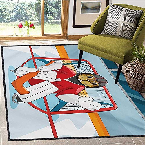 Hockey, Area Rug Non Slip Pad, Cartoon Style Beaver Plays as a Goalkeeper Fun Activity for Kids Theme Animal Mascot, Floor Mat Pattern 5x8 Ft Multicolor