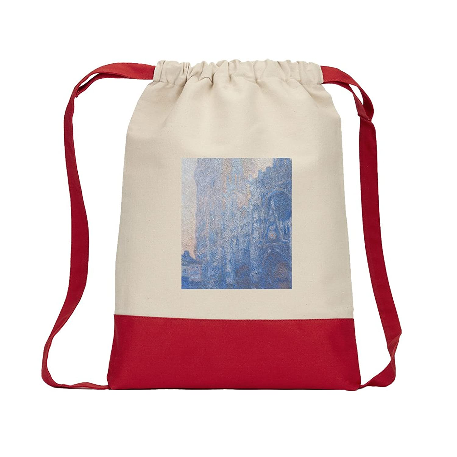 Rouen Cathedral Facade (Monet) Canvas Backpack Color Drawstring Bag