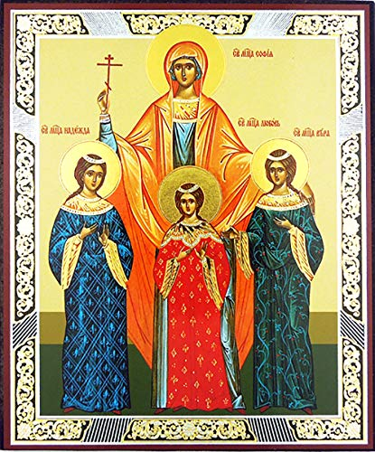 Religious Gifts St. Saint Sophia Sofia with Daughters Russian Orthodox Wood Icon Faith, Hope and Love 6 1/4 - Icon Russian Orthodox