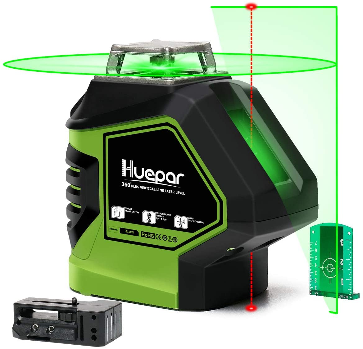 Huepar Self-Leveling Green Laser Level 360 Cross Line with 2 Plumb Dots Laser Tool -360-Degree Horizontal Line Plus Large Fan Angle of Vertical Beam with Up Down Points -Magnetic Pivoting Base 621CG