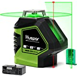 Huepar Self-Leveling Green Laser Level 360 Cross Line with 2 Plumb Dots Laser Tool -360-Degree Horizontal Line Plus…