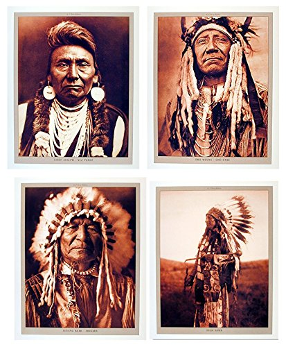 Impact Posters Gallery Indian Chief Wall Decor Native American Picture 16x20 Four Set Art Print -
