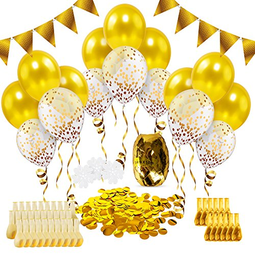 Gold Confetti Balloons Party Decorations 56 Pieces - Clear Party Balloons Pre Filled Foil Dots + Latex Balloon, Matching Curling Ribbon, Golden Banner, Balloon Clips | All in One for Birthday Parties