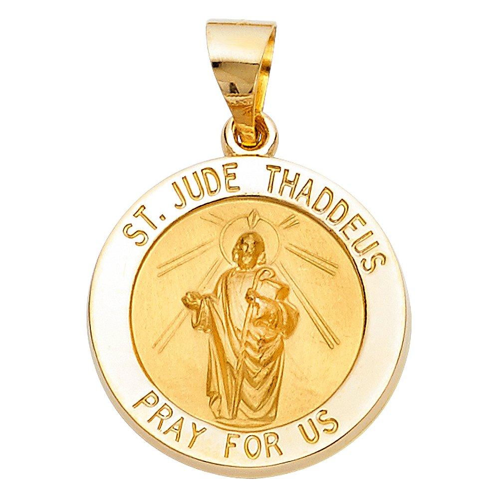 MCLGPT1246 19mm x 19mm Million Charms 14k Yellow Gold Small//Mini Saint Jude Thaddeus Charm Pendant