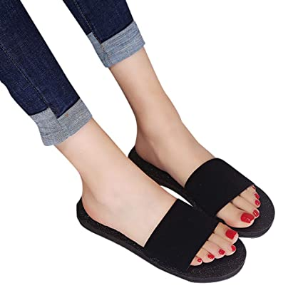 e0caac5ffa55 Image Unavailable. Image not available for. Color  Fheaven Women Sandals  Flat Slides Slippers Sandals Home Bathroom Summer ...