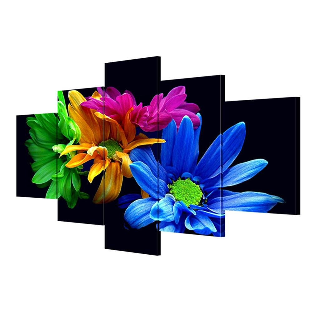 GFRWallart Leinwandbilder moderne Wandkunst Schwarzer Hintergrund bunte Blaumen Nordic Wohnzimmer dekoriert Wandmalereien (Multi-Größe optional) , With Borders , GrößeA B07BGR7FPL | Diversified In Packaging