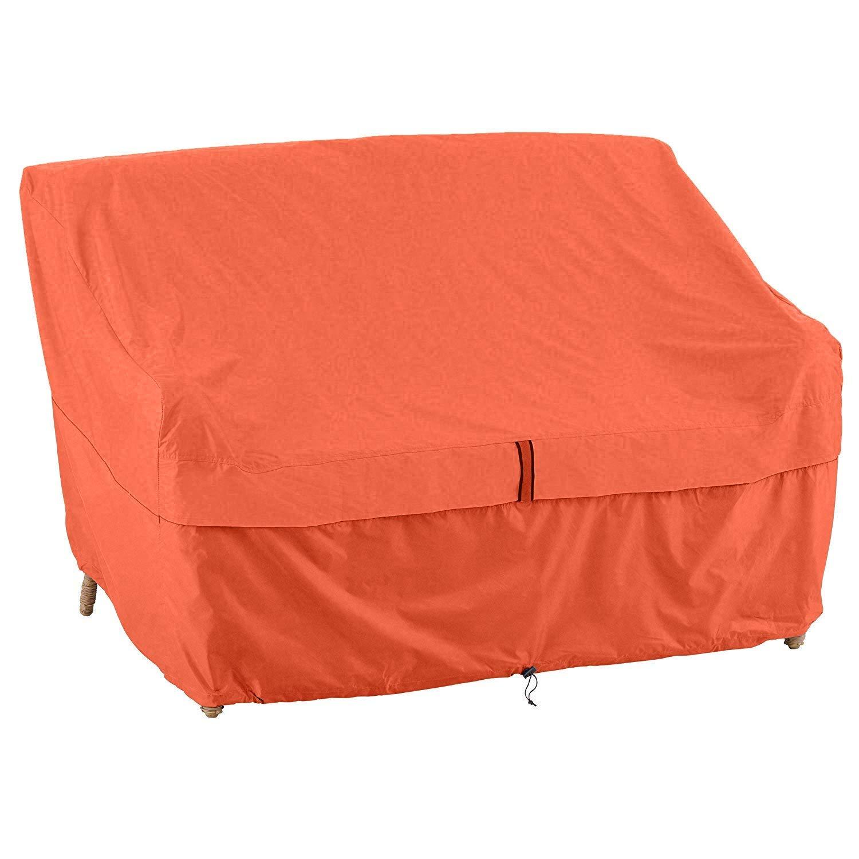 QEES Protezione per mobili da Giardino e Accessori copridivano per mobili da Giardino Arancione Copertura per Panca da Esterno Resistente e Impermeabile