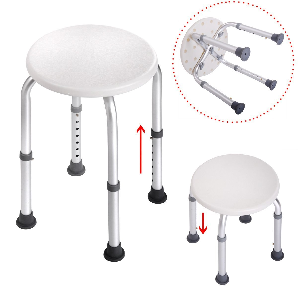 Tezam Medical Adjustable Height Bath Stool, White Round Shower Stool Bathtub Chair Bench with Non-Slip Rubber Bathroom Safety for Elderly, Senior, Pregnant, Handicap & Disabled