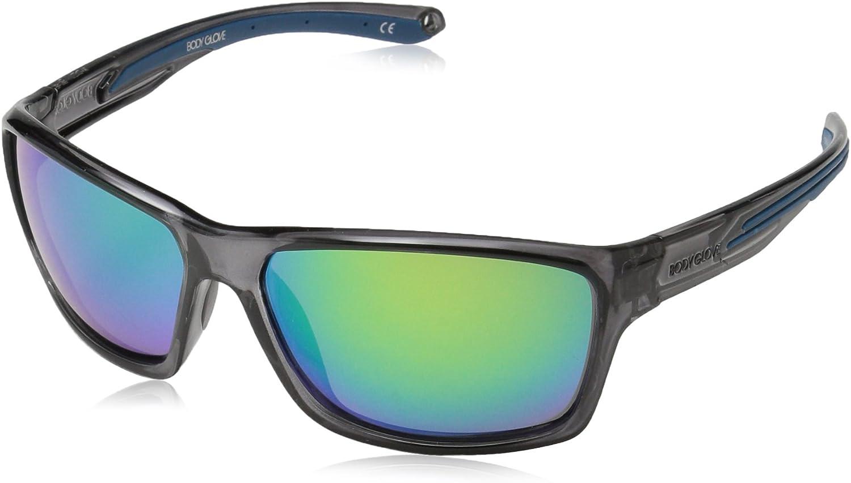 Body Glove Unisex-Adult Fl 26 Grey 10236224.QTM Wrap Sunglasses, Shiny Dark Grey Crystal, 61 mm