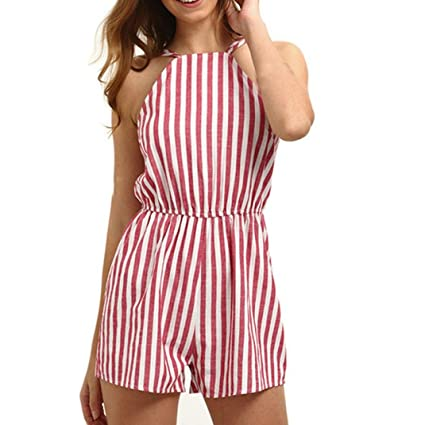 fa87e71d2f2 Image Unavailable. Image not available for. Color  GBSELL Women Summer Sexy  Red Striped Halter Beach Club Jumpsuit Rompers Shorts ...
