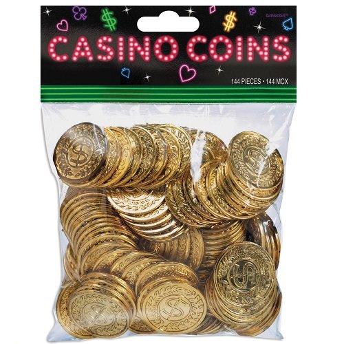 Plastic Casino Gold Coins, 144 Ct - Pacakaging May Vary (Casino Plastic)