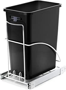 Home Zone Living VK40264U 29 Liter / 7.6 Gallon Pull-Out Trash Can, Under The Counter, Single Bin, Black