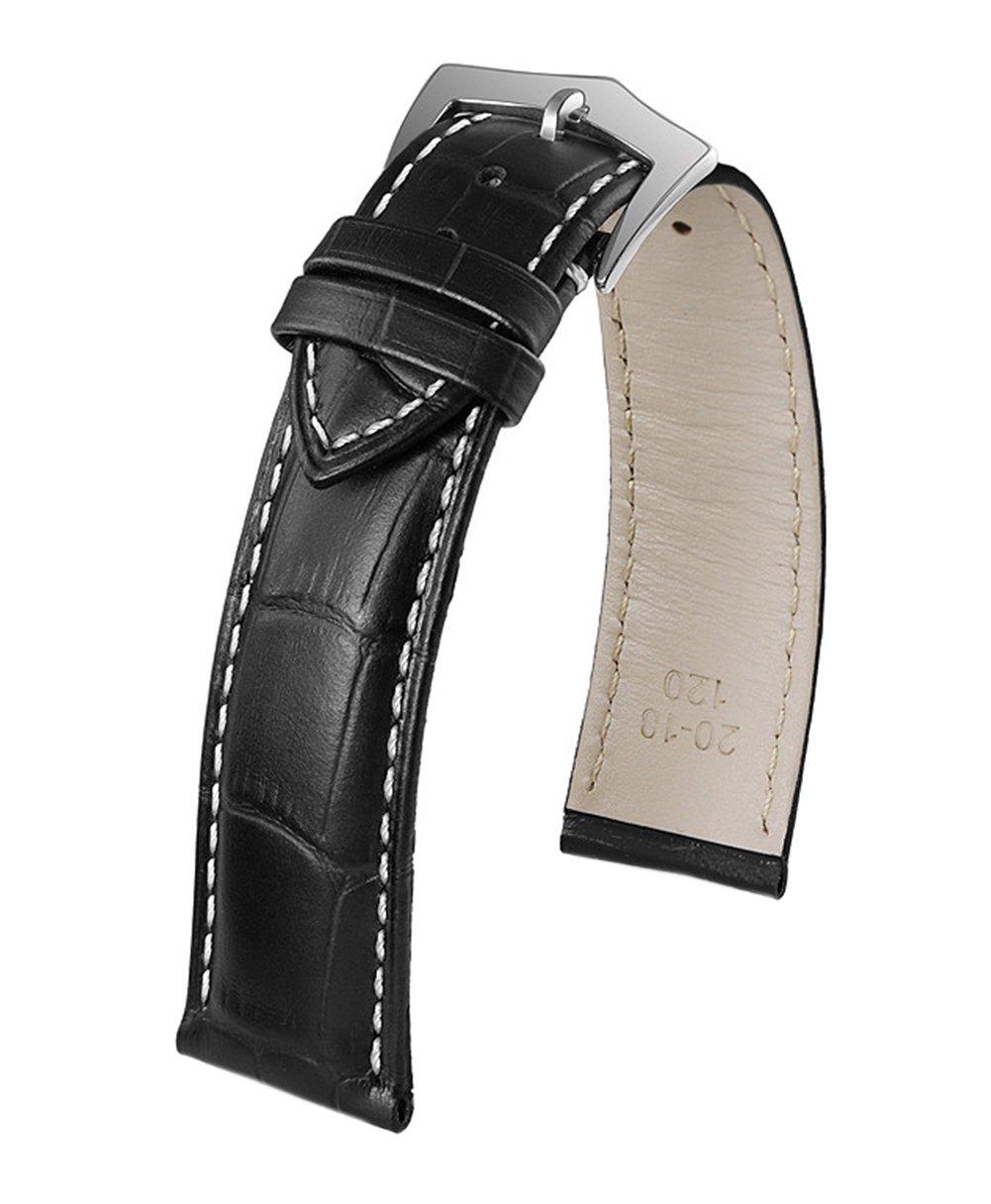 23mm Premium Mens Leather Wrist Strap In Black Contrasting White Stitch Crocodile Embossed Italian Calfskin Pin Buckle