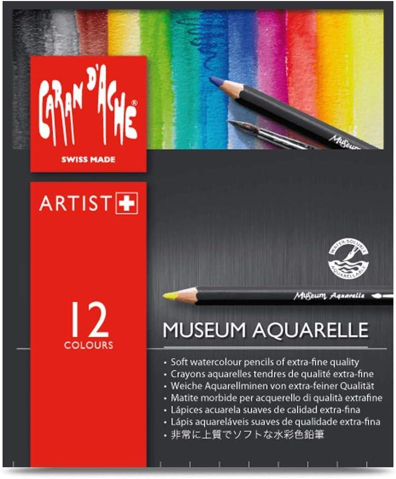 Caran D'Ache Museum Aquarelle - Lápices acuarela suaves de calidad extrafina, 12 unidades, multicolor