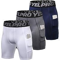 Lixada Heren 3 Pack Performance Compressie Shorts Actieve Workout Ondergoed Basislaag Panty Korte Leggings