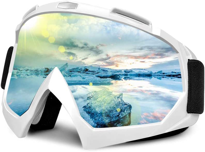 Frebw Ski Snowboard Goggles,Winter Snow Sports Snowboard Over Glasses Goggles with Anti-Fog UV Protection Double Lens,Adjustable UV Protective Safety Outdoor Glasses for Cycling, Climbing