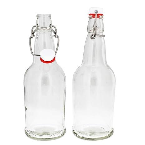 Botellas de vidrio con tapa abatible, botella de vidrio con ...