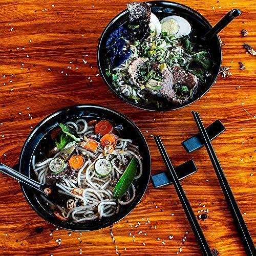 Spaghetti di noodle Stoviglie tailandesi per qualsiasi pasto di zuppa 6 pezzi Di Udon ramen ciotola set-asiatico giapponese stile con cucchiai bacchette-ristorante qualit/à Melamina Pho 2 set