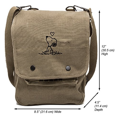 Grab A Smile Snoopy in Love Canvas Crossbody Travel Map Bag Case, Olive & Black by Grab A Smile (Image #1)