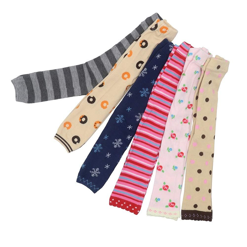 Kanghua 5 Pack Baby Girls Cable Knit Leggings Pants Cotton Ruffle Winter Footless Tights