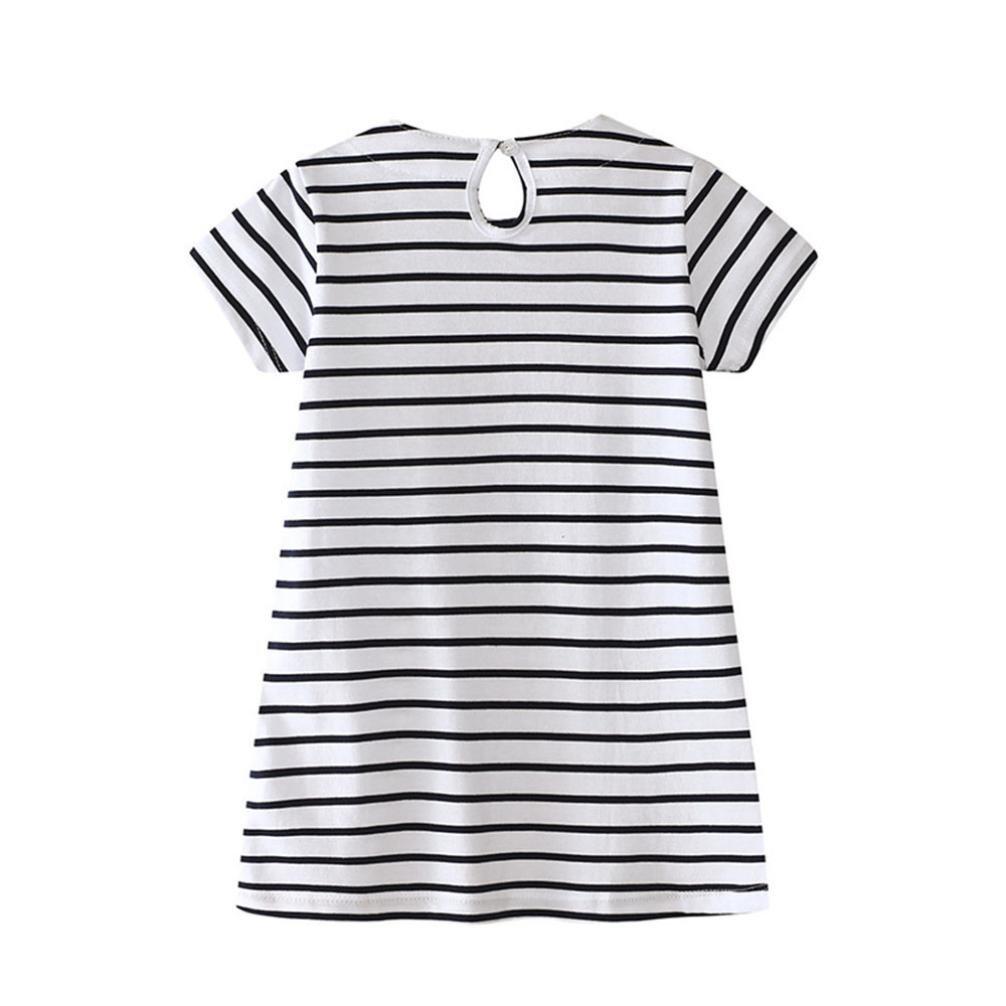 Toddler Baby Kid Girl Rainbow ricamo abito Stripe Dress outfit vestiti Squarex Girls Dress