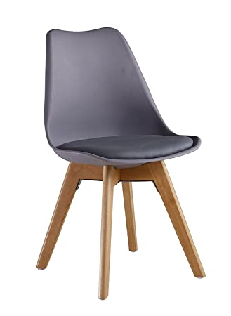 D/&S Tulip Chair Plastic Wood Retro Dining Chairs White Black Grey Red Yellow Blue Black, 1