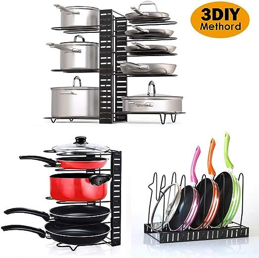 Baskiss 5 Pans Organizer Rack 5-Tier Cookware Storage for Cabinet Worktop Storage Height Adjustable Pot Holder