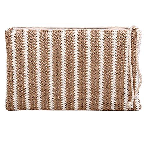 Donalworld Women Clutch Bag Summer Straw Stripe Crochet Handbag Zip Purse Beige ()