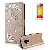 Funyye 3D Bling Flower Diamond Wallet Leather Case for Samsung Galaxy S9,Gold Premium Glitter Crystal Shiny Rhinestone PU Leather Protective Cover Case,Multifunctional Magnetic Flip with Stand Credit Card Holder Slots Case for Samsung Galaxy S9 + 1 x Free Screen Protector