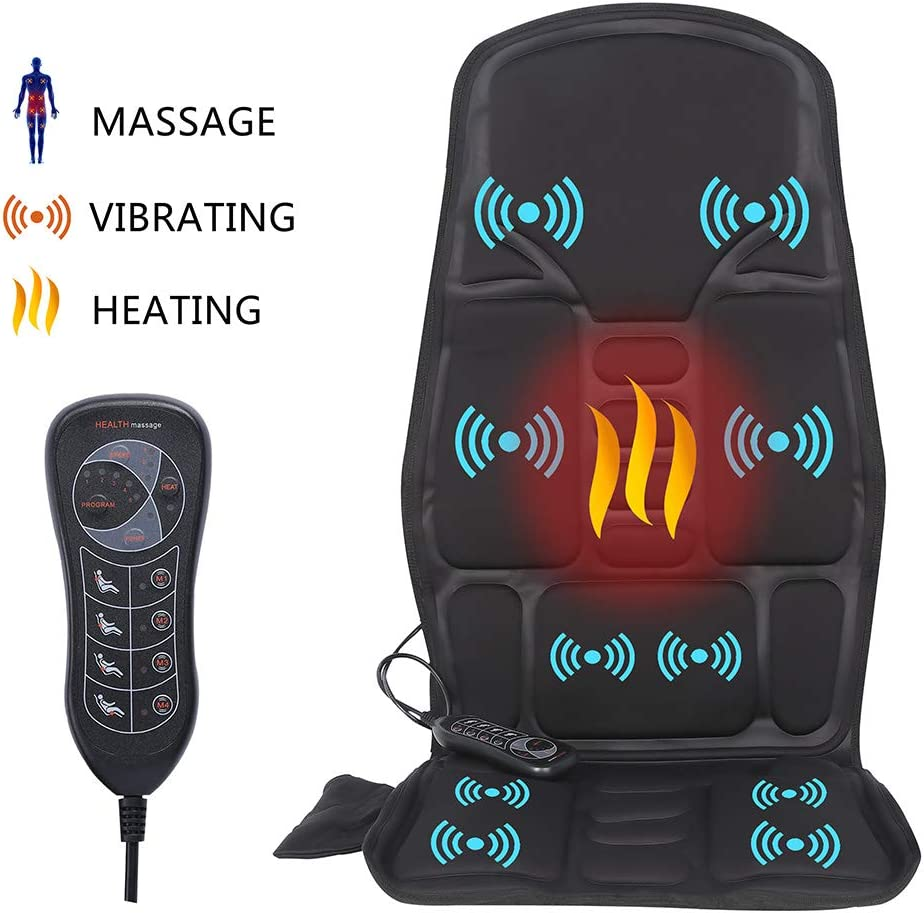 IDODO Vibration Car Back Massager, Massage Seat Cushion with Heat, 10 Vibrating Motors and Therapy Heating Massage Chair Pad to Release Stress and Fatigue for Car Home Office Use