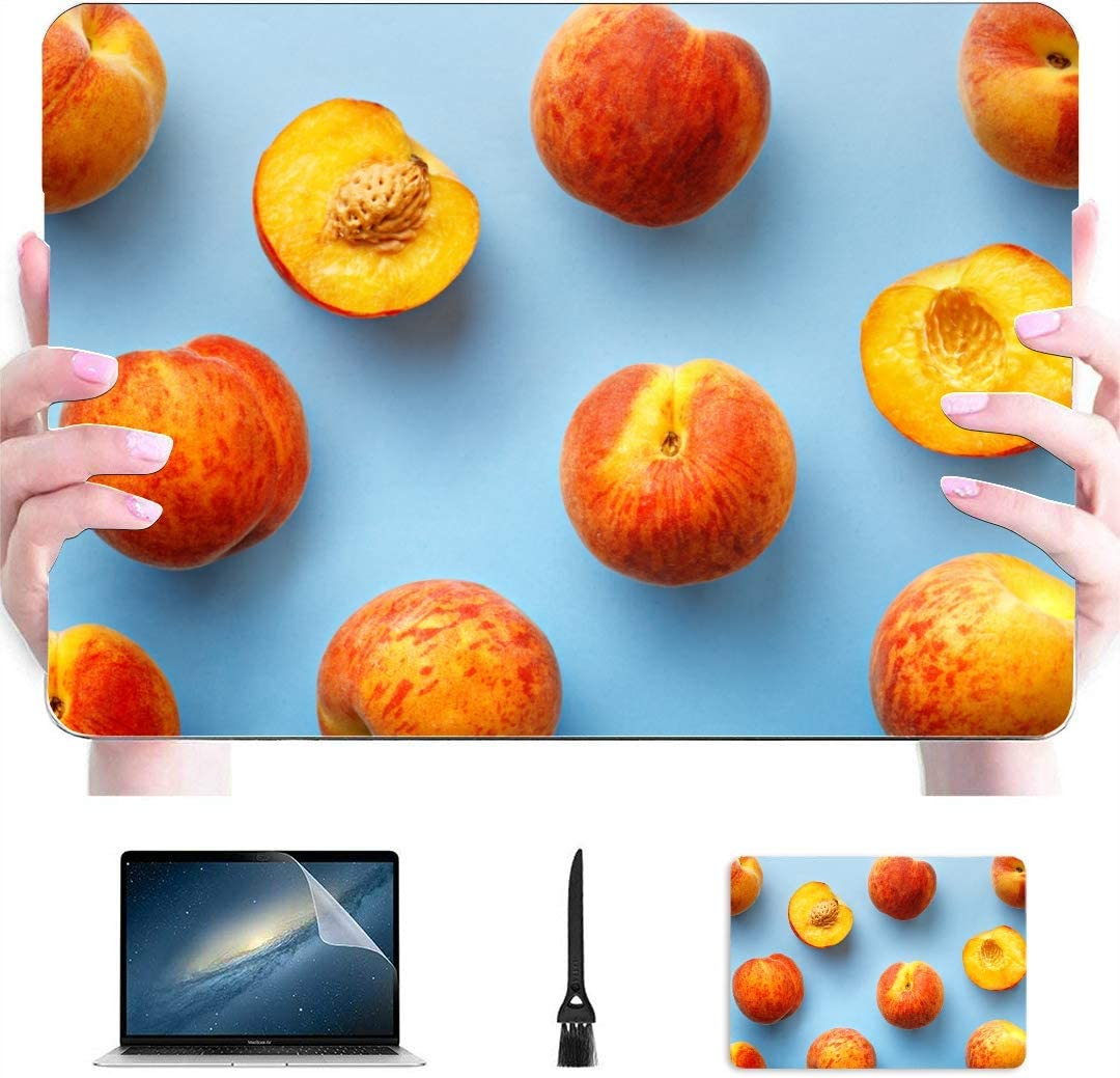 Case for MacBook Air Ripe Peaches Cartoon Plastic Hard Shell Compatible Mac MacBook Pro 15 Case Protection Accessories for MacBook with Mouse Pad