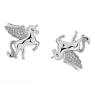 607361771 Crystal Wings 925 Sterling Silver Cubic Zirconia Unicorn Personality Cute Stud  Earrings For Women Girls: Amazon.co.uk: Jewellery