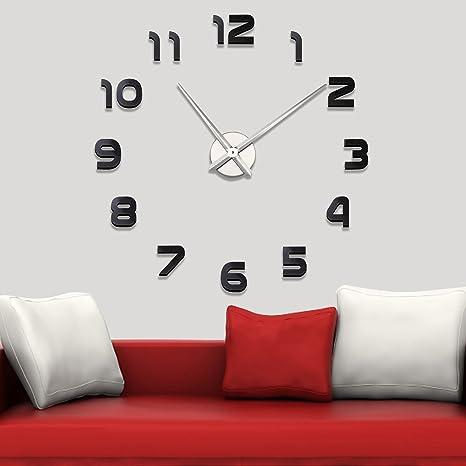 Soledi Reloj de Pared Moderno DIY 3D Pegatina Número sin Marco de reloj Decoración del Hogar
