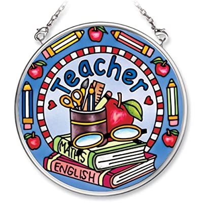 Amia Hand Painted Glass Suncatcher with Teacher Design, 3-1/2-Inch Circle: Home & Kitchen