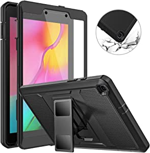 MoKo Case Fit Samsung Galaxy Tab A 8.0 T290/T295 2019 Without S Pen Model, [Heavy Duty] Shockproof Full Body Rugged Protective Cover Built-in Screen Protector for Galaxy Tab A 8.0 2019 Tablet - Black