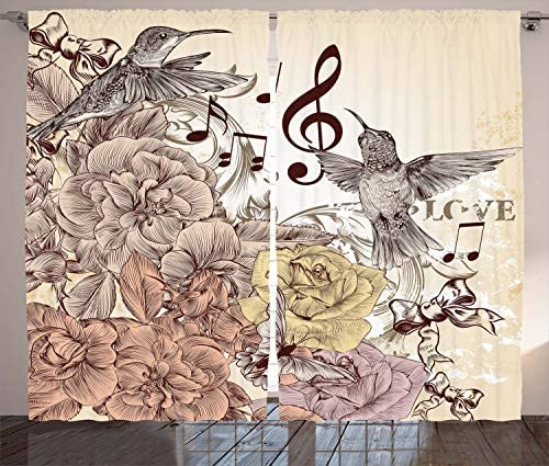 Ambesonne Hummingbirds Curtains, Flourishes and Birds Butterfly Rose Blossoms Leaves Nostalgia Classic, Living Room Bedroom Window Drapes 2 Panel Set, 108 X 90 , Brown Yellow