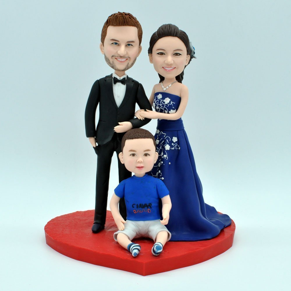 Wedding Bee DIY Custom Bride and Groom Wedding Cake Topper Family Cake Topper Spouses and Child Topper
