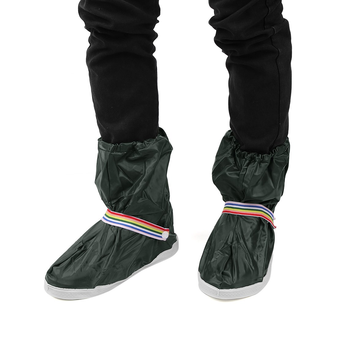 uxcell 1Pair Dark Green Motorcycle Nonslip Waterproof Adjustable Rain Shoes Cover XXL