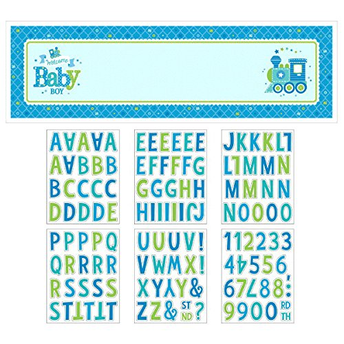 Amscan Charming Welcome Little One-Boy Giant Sign Banner Baby Shower Party Decorations, 65'' x 20''. (12 Piece)