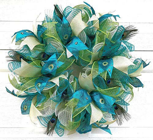 Peacock Theme Deco Mesh Wreath for Front Door Blue Green Gold Feathers Home Wall Decor 24 inch